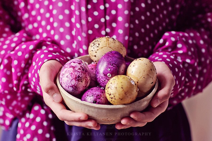eggs dyed with blueberry, lingonberry and coffee. photo by krista keltanen