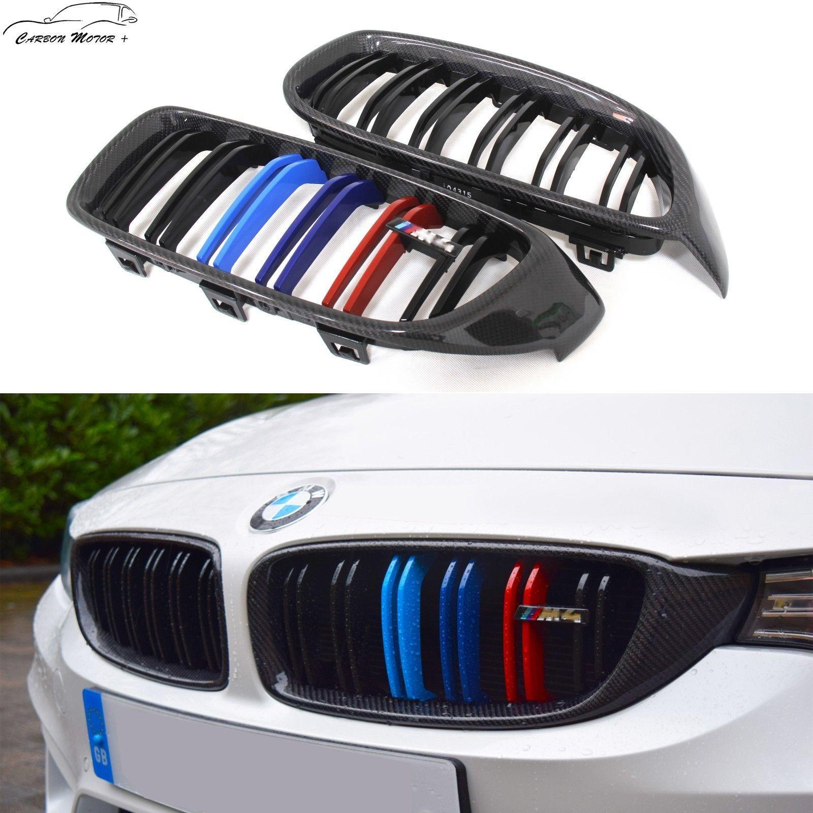 Stick on Type For BMW F32 F33 F36 M4 Carbon Fiber Fender Side Grille Cover