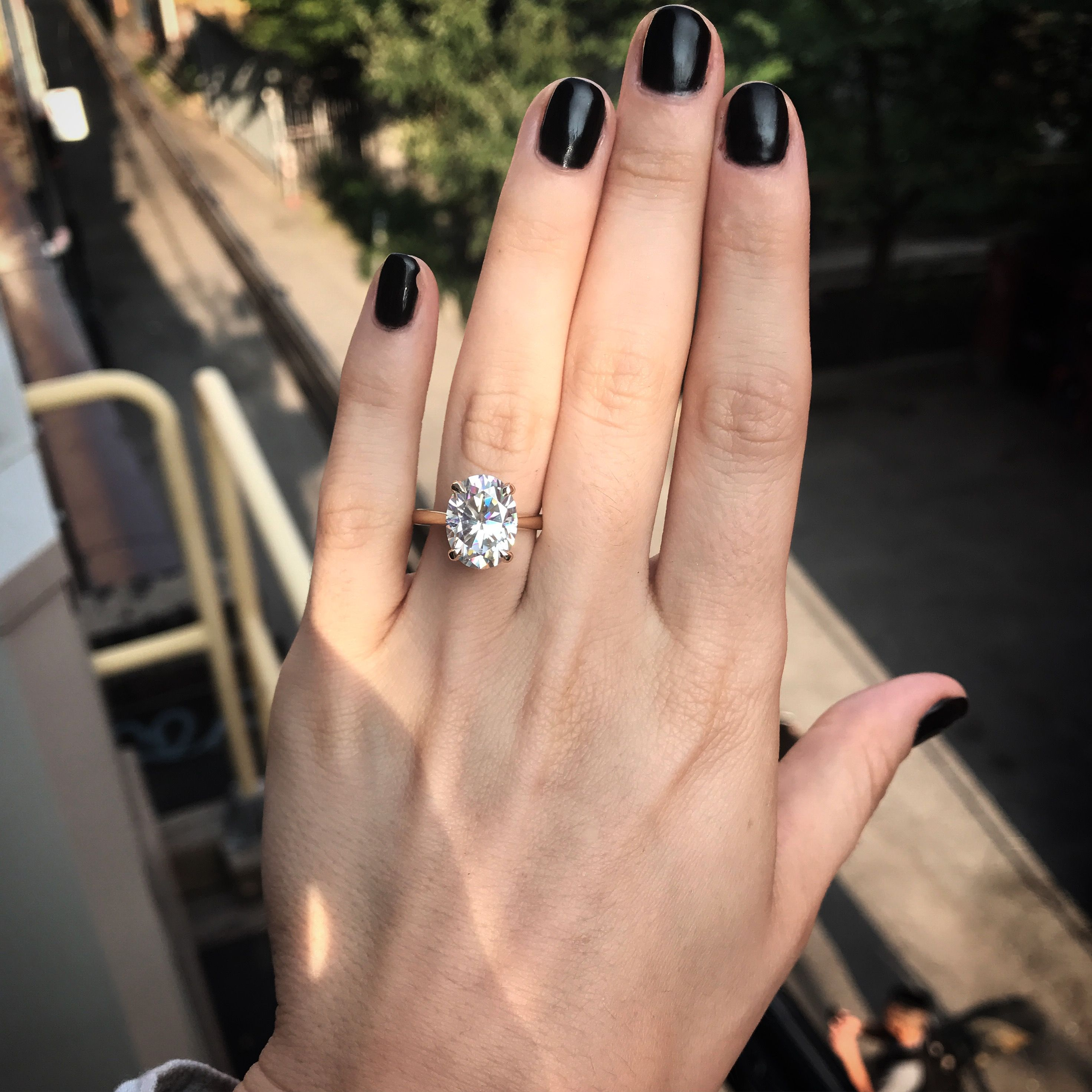 Large 6 Carat Equivalent Moissanite Solitaire Engagement Ring In
