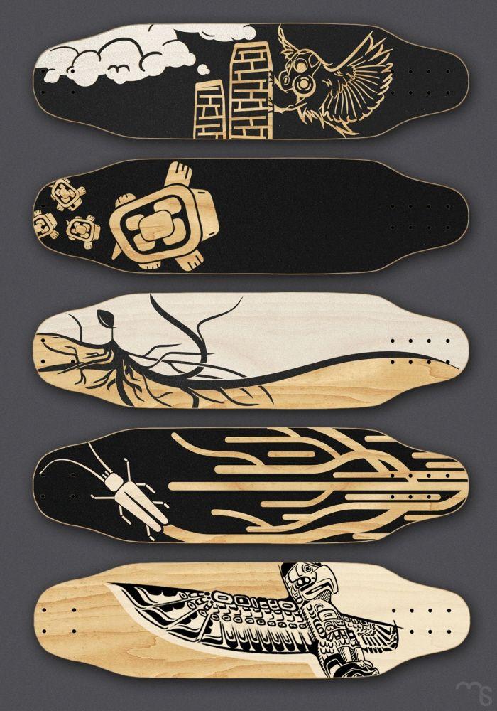 Skateboard deck graphics mike serafin graphics - Skateboard dessin ...