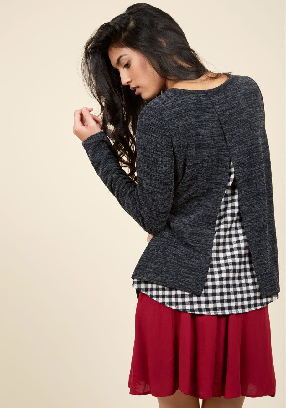 Open-Source, of Course Sweater. If your friends need you, they can find you styled in this charcoal sweater, coding, per usual! #grey #modcloth