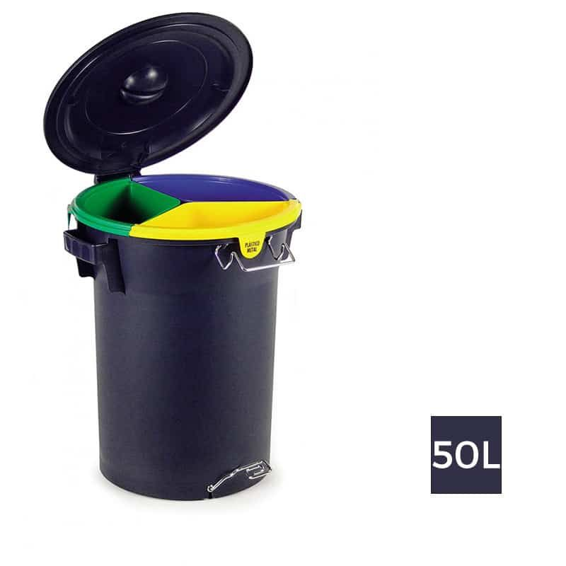 Formentera Poubelle Plastique Tri Selectif A Pedale Trio 50l Trash Bins Trash Can Trash