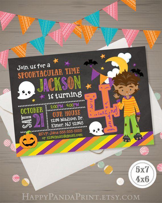 Halloween Birthday Invitation Kids Boy Werewolf Invatation Invite
