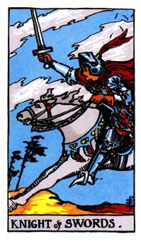 Swords Minor Arcana of the Raider-White tarot II - Spiritual Reading  The armor of the Knight suggests that he is ready for anything and that he is not afraid to fight for it. With his sword held towards the sky he is a card of action and does not wait for anything, without a thought of the harm he may encounter.  http://www.spiritual-reading.net/swords-minor-arcana-of-the-raider-white-tarot-ii/  #tarot