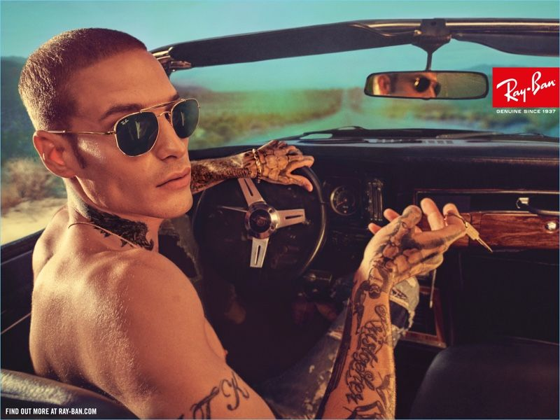 eb1f03dc669 Austin Kellogg wears Ray-Ban s Marshal sunglasses for the brand s latest  campaign.
