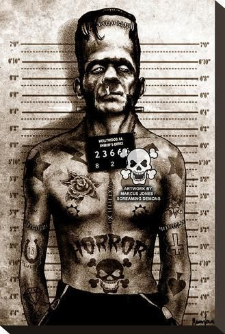 Stretched Canvas Print: Franky Mugshot by Marcus Jones : 14x10in