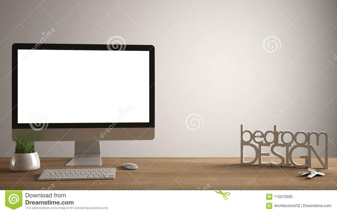 Desktop Mockup Template Computer On Wooden Work Desk With Blank Screen House Keys 3d Letters Mak Word Template House Keys Computer