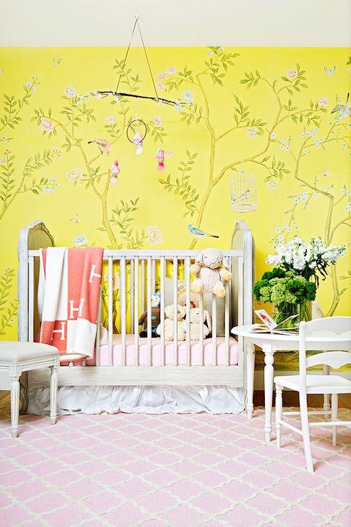 Amazing Girls Nursery Boasts Custom Yellow Chinoiserie Wallpaper Framing A Restoration Hardware Baby Child Colette Tufted Crib
