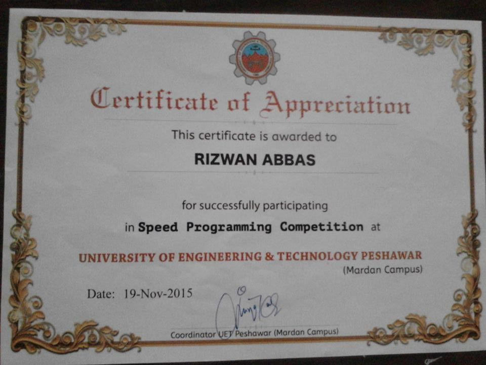 Its My Programming Certificate Given By Coordinator Of U E T