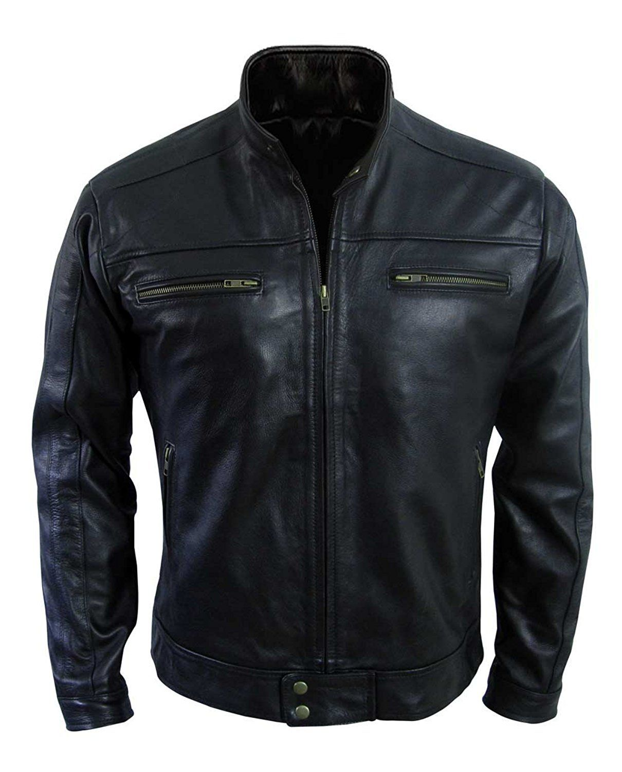 8bfc318e70e8 Being Human Aidan Black Real Leather Jacket at Amazon Men s Clothing store