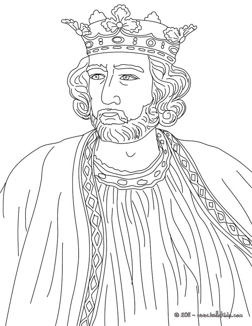 Colouring in kings and queens - King Edward I England Coloring Page