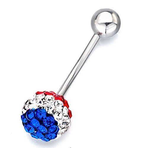 FAMA Red CZ and Gemmed Mushroom Dangle with14kt Gold Plated Navel Belly Ring