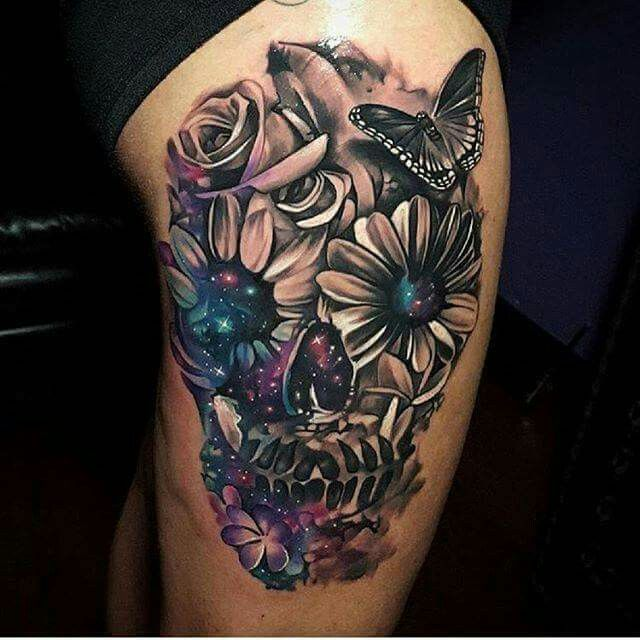 Helpful information Flower skull thigh tattoo