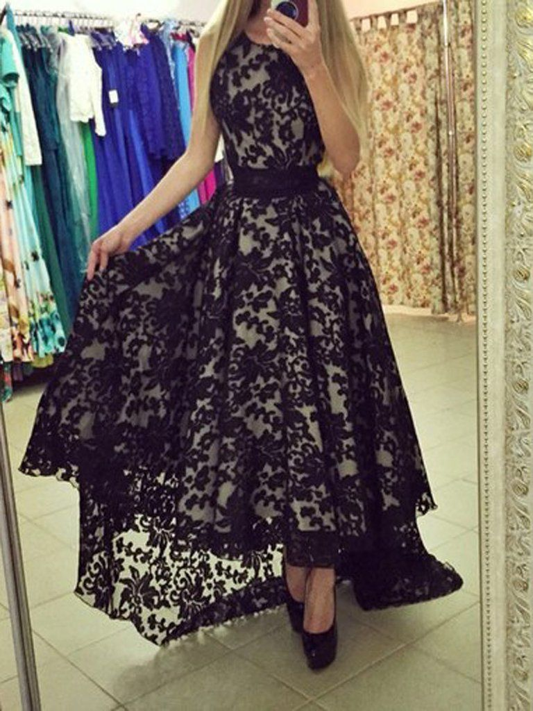 Black lace sleeveless high low maxi dress black laces high low
