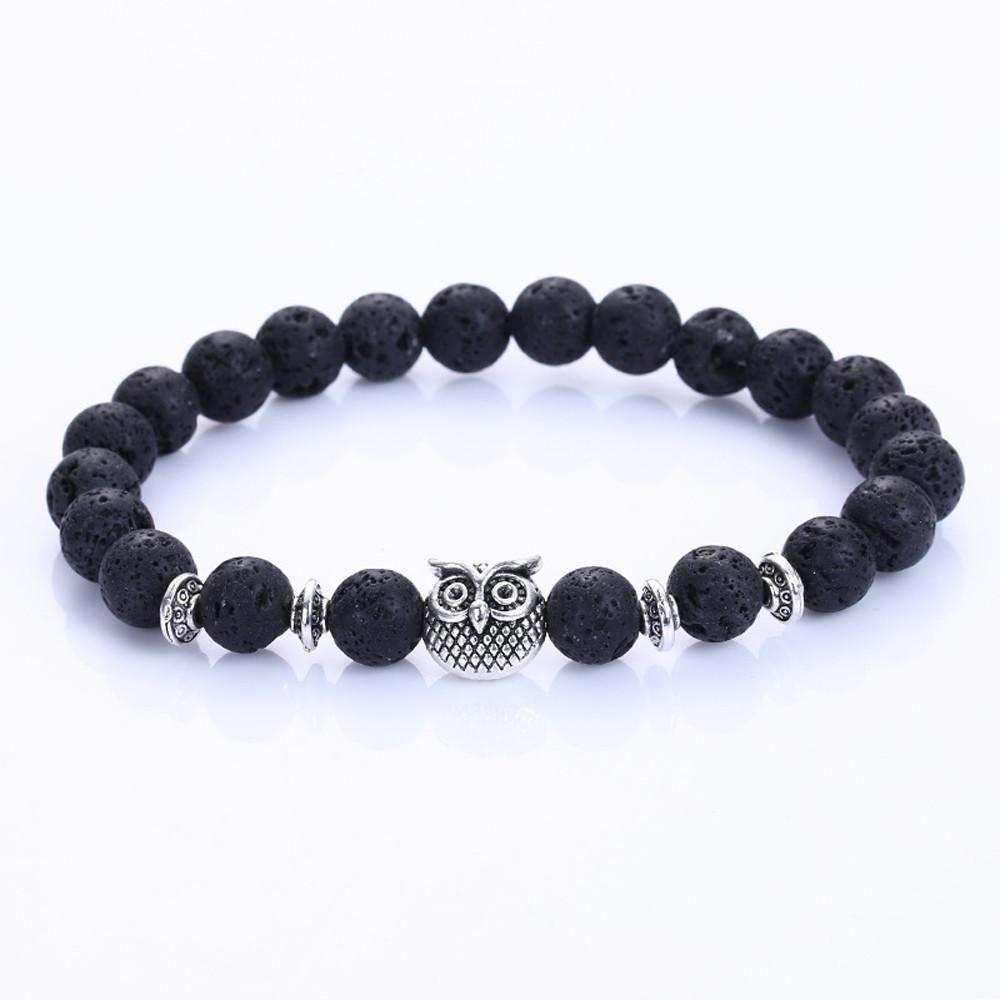 Volcanic owl bracelet silver lava stone bead products