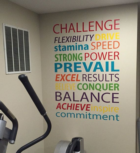 gym wall decal, work out word typography quote | gym | workout rooms