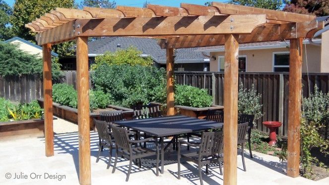 five post redwood arbor with travertine patio design julie orr design
