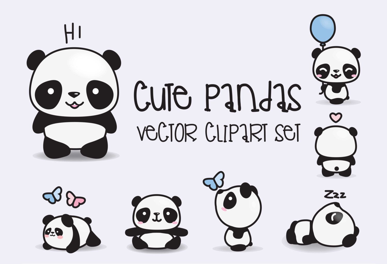 Premium Vector Clipart Kawaii Pandas Cute Pandas Clipart Set