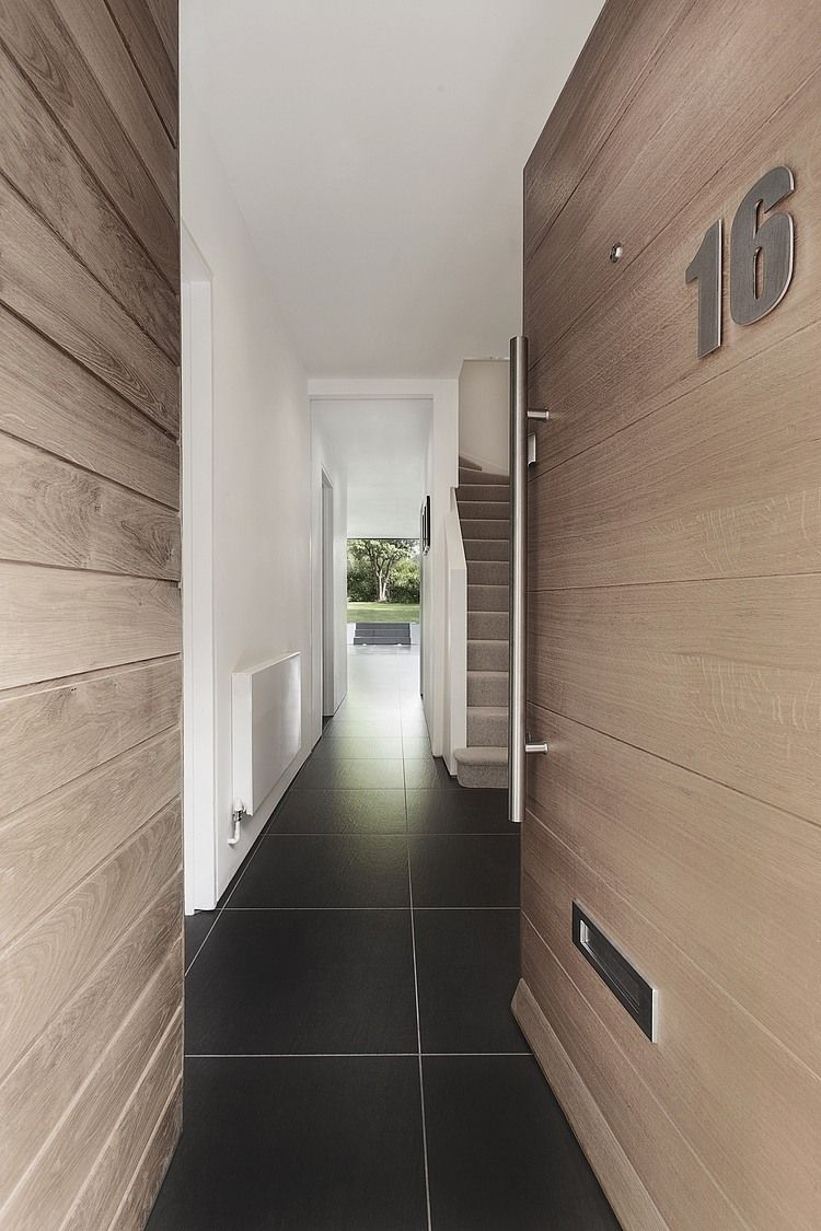 contemporary oak front door - love the floor too!