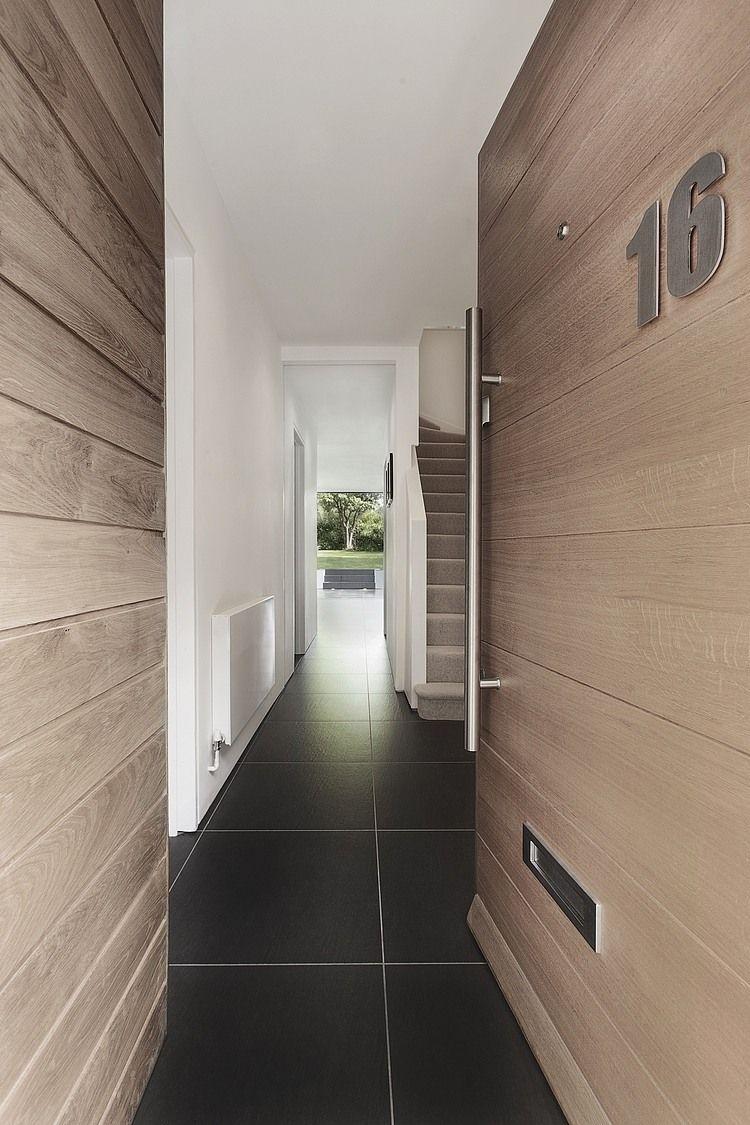 contemporary oak front door - love the floor too!