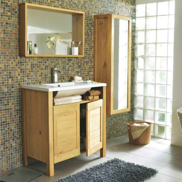 Meuble de salle de bains chêne 80 cm Massa - CASTORAMA salle de