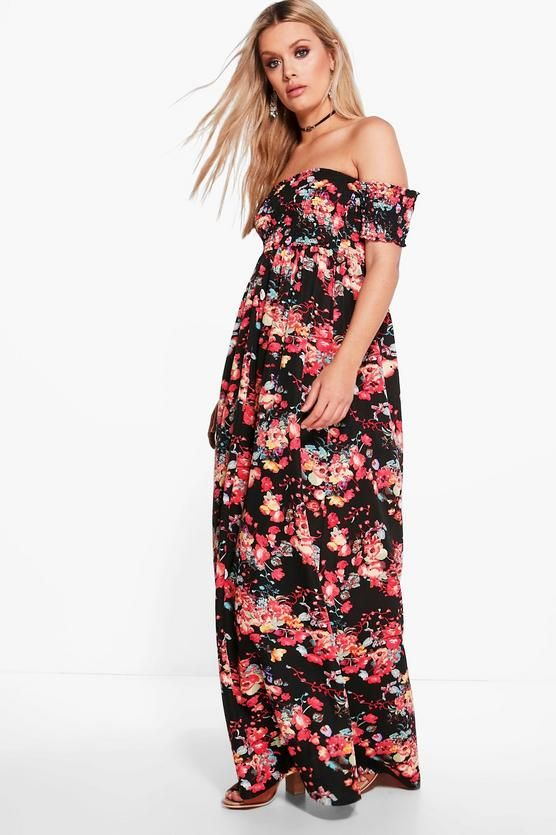 a46ac5d9ed8 Plus Off The Shoulder Floral Maxi Dress in 2019