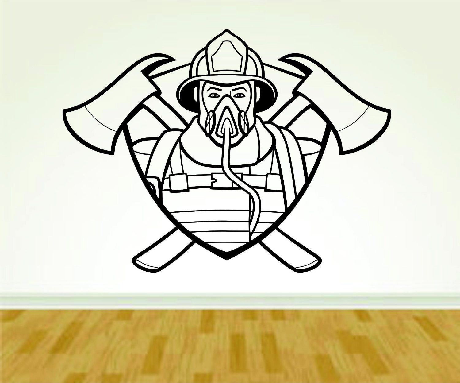 Firefighter Fireman with Mask and Shield Version 108 Decal Sticker ...