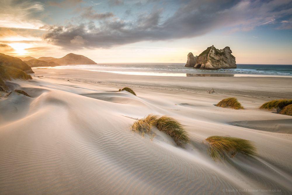 Wharariki Beach Golden Bay Visit New Zealand Nz Beach New Zealand Landscape