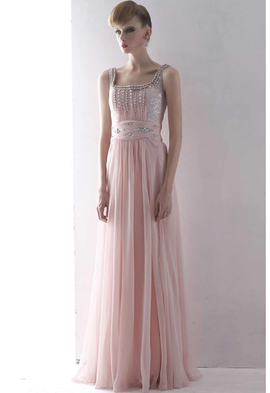 Elliot Claire Pink Chiffon Prom Dress with Shimmer Detail | Evening ...