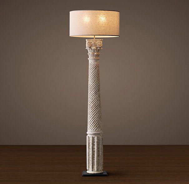 Hand Carved Corinthian Column Floor Lamp Weathered White Column Floor Lamp Restoration Hardware Floor Lamps Floor Lamp