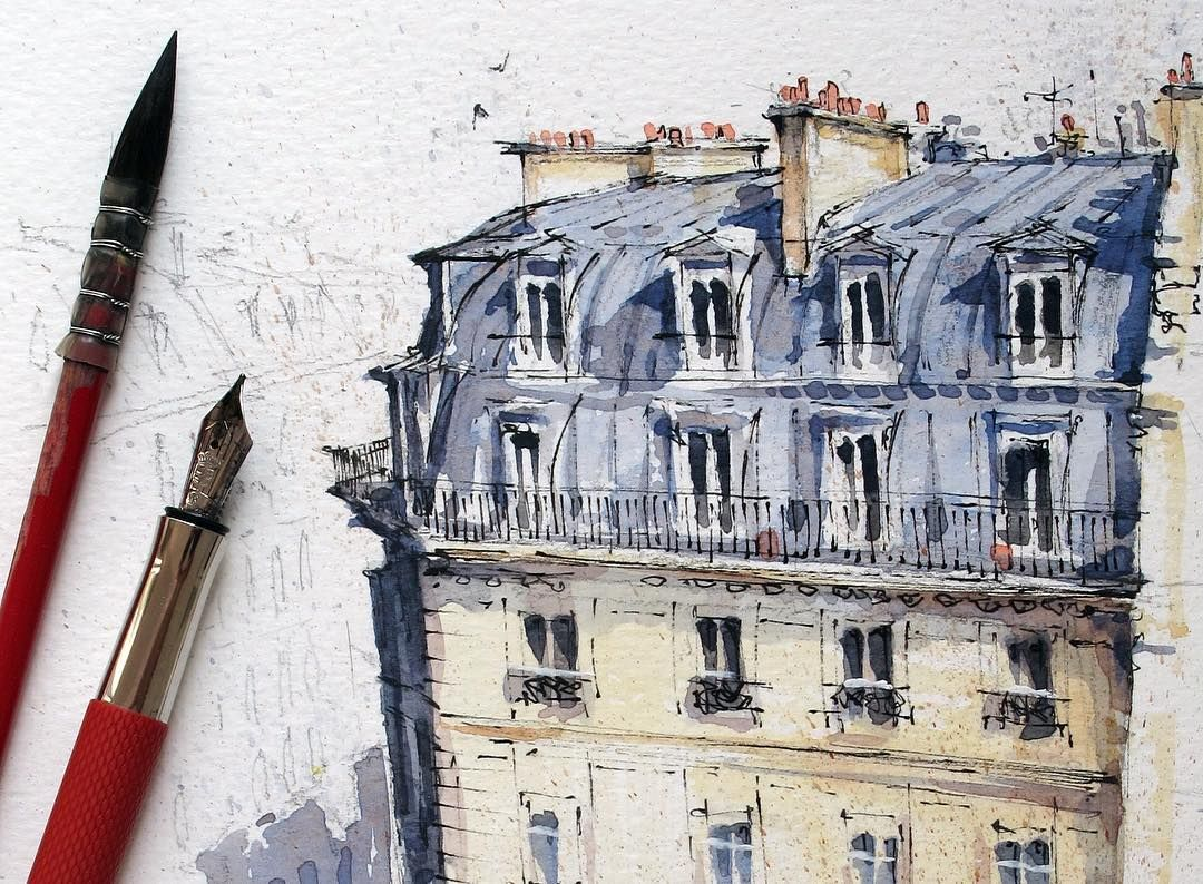 Rooftops Of Paris Paris Urbansketchers Urbansketch Usk