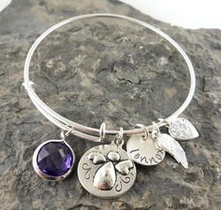 My Angel Personalized Hand Stamped Adjustable Wire Bangle Bracelet