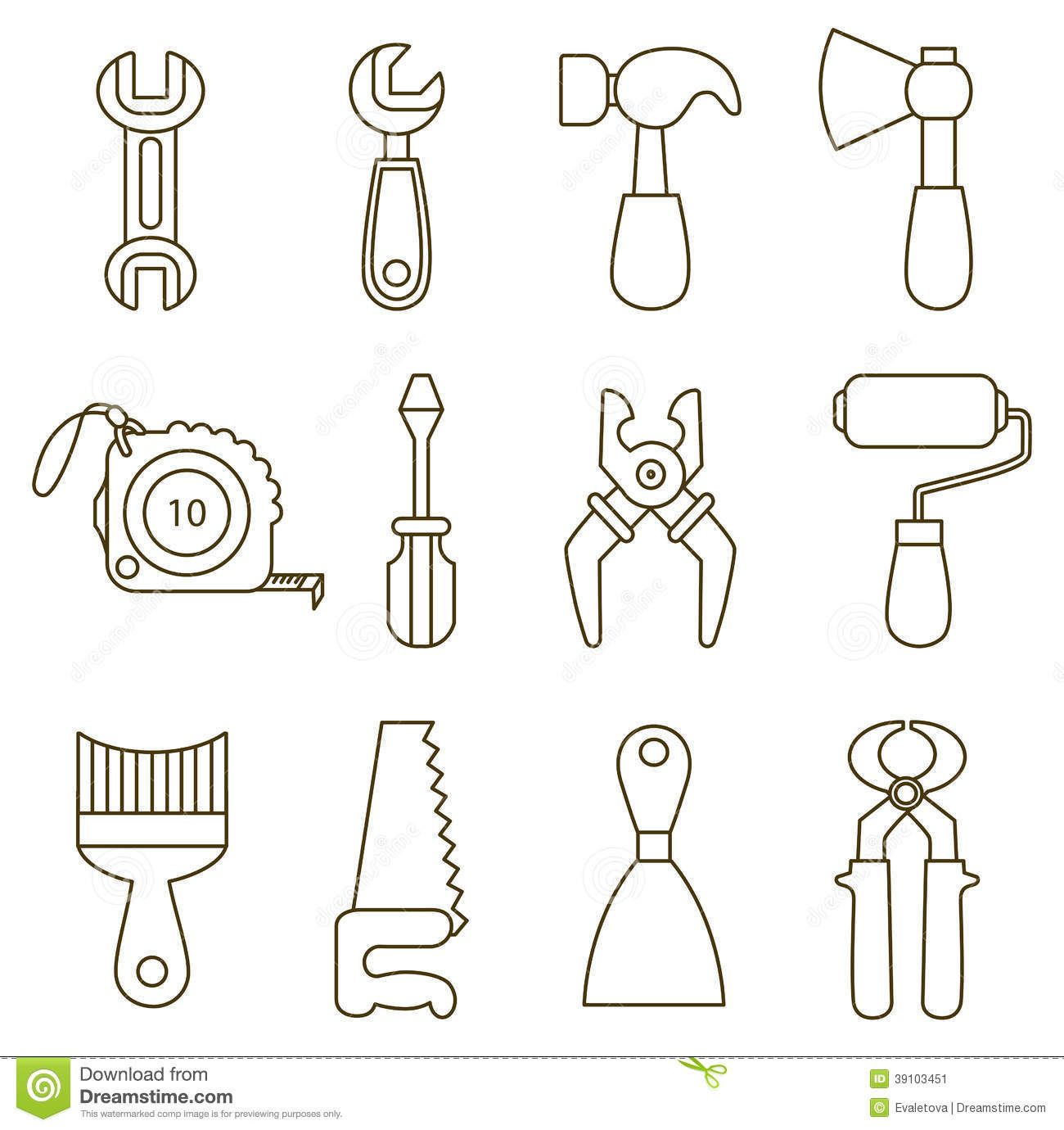 Illustration About Set Of Working Tools Icons Coloring Book Illustration Of Equipment Roller Contour 39103451 Work Tools Fathers Day Crafts Felt Book
