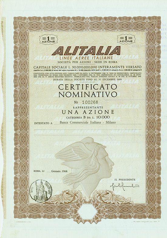 Hwph Ag Historische Wertpapiere Alitalia Linee Aeree Italiane
