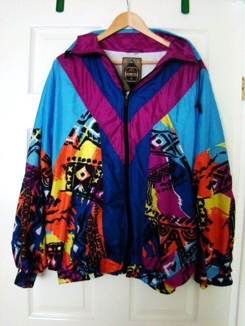 *NWT! Vintage Retro 80 s Graffiti Shell Suit Jacket Size XL Rave/Fancy Dress £26.00
