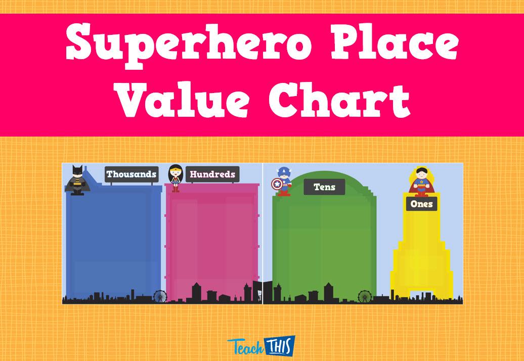 Superhero Place Value Chart Superhero Pinterest Place Values