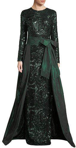 f117f06907 Rickie Freeman For Teri Jon Long-Sleeve Sequin Gown w  Taffeta Overlay