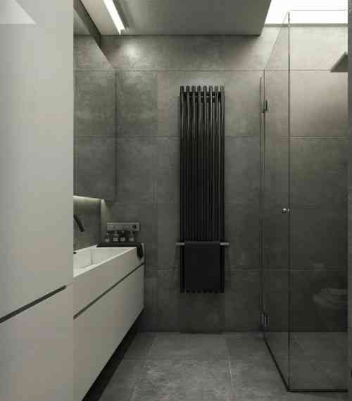 Salle de bain ardoise naturelle et chic sdb pinterest bathroom apartment interior et - Salle de bain en ardoise ...