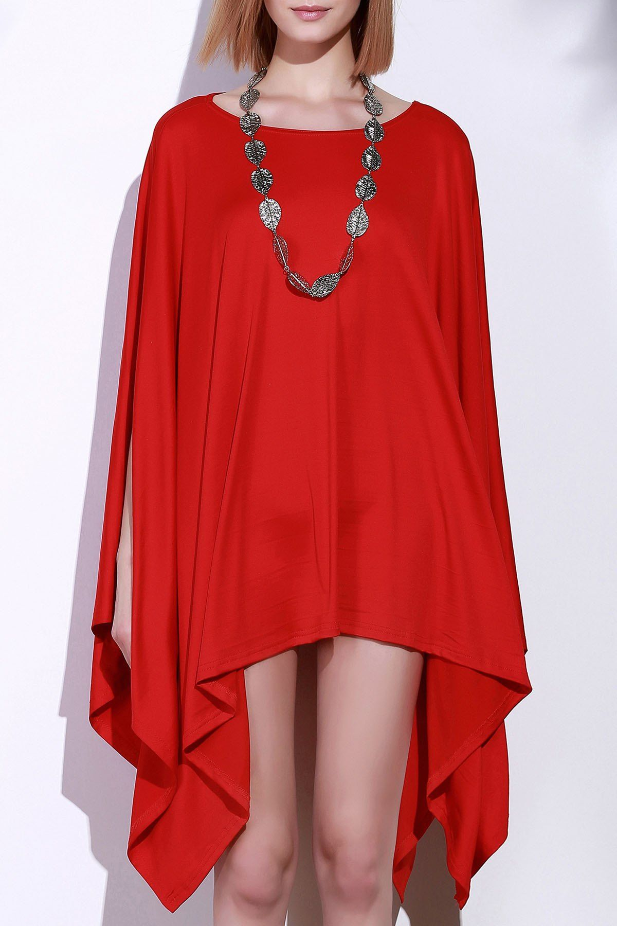 Batwing sleeve handkerchief caped plus size top stylish clothes