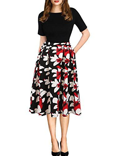 728b51720bfd0 Women's Wear to Work Dresses - Oxiuly Womens Vintage Patchwork ...