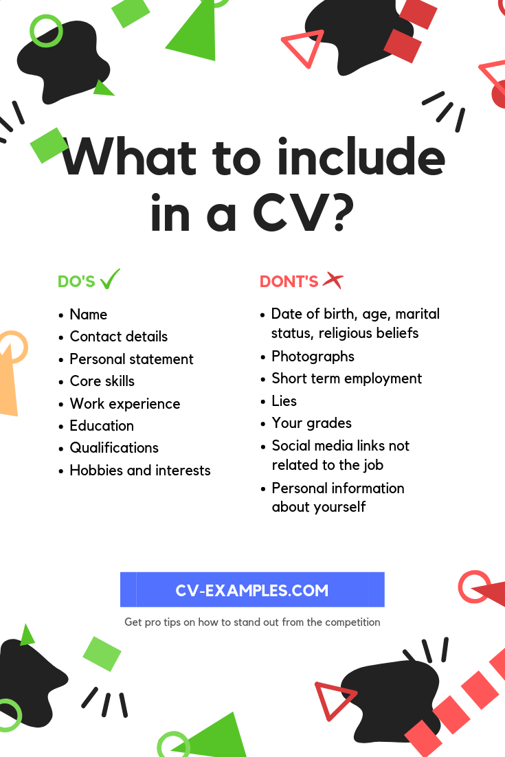 what to include in a cv and what to leave out   with