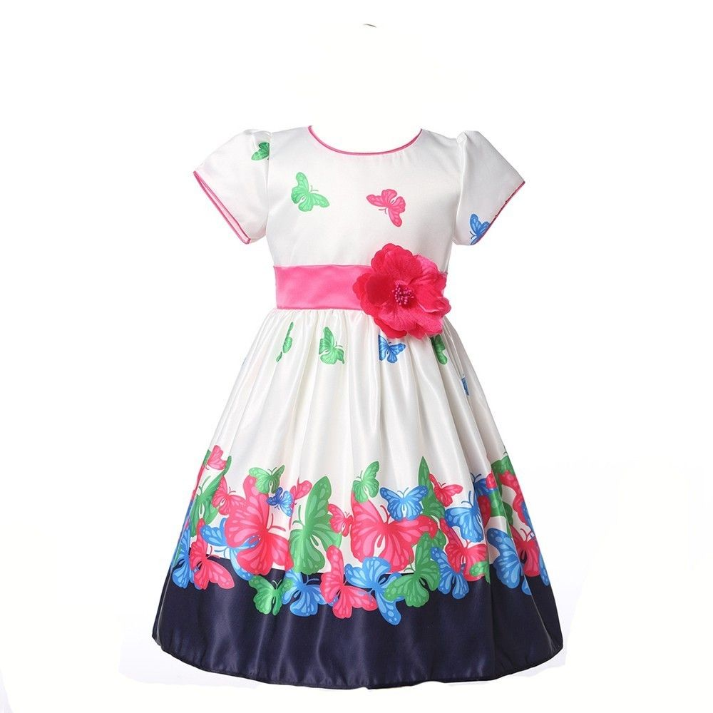 Click To Buy Girls Summer Dresses For Wedding And Evening Party Flower Butterfly Printing With B Girls Dresses Summer Girls Party Dress Dresses Kids Girl [ 1000 x 1000 Pixel ]