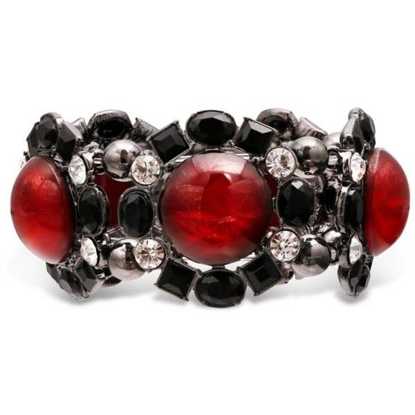 Jules B Red Hematite-Tone Red And Black Stretch Bracelet (165 SEK) ❤ liked on Polyvore featuring jewelry, bracelets, red, red bangles, hematite jewelry, red bracelet, hematite bracelet and cabochon jewelry