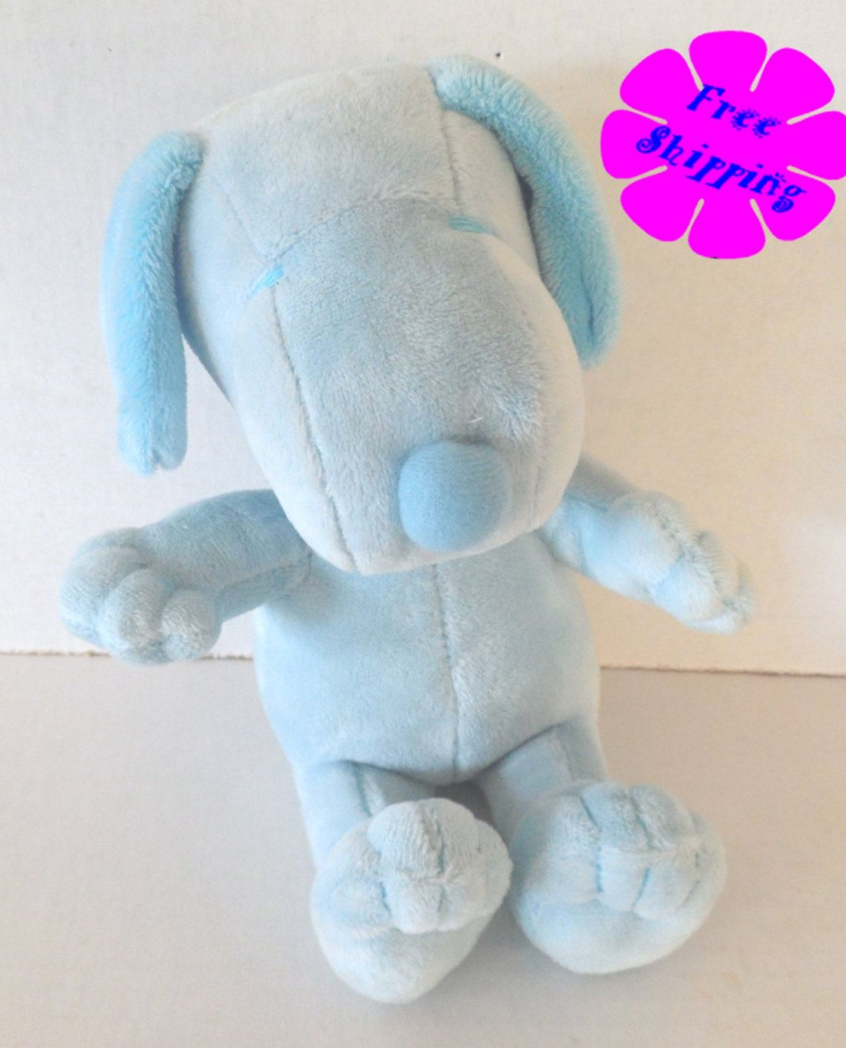 Retro 8 Plush Snoopy Stuffed Animal Baby Blue Peanuts Gang By