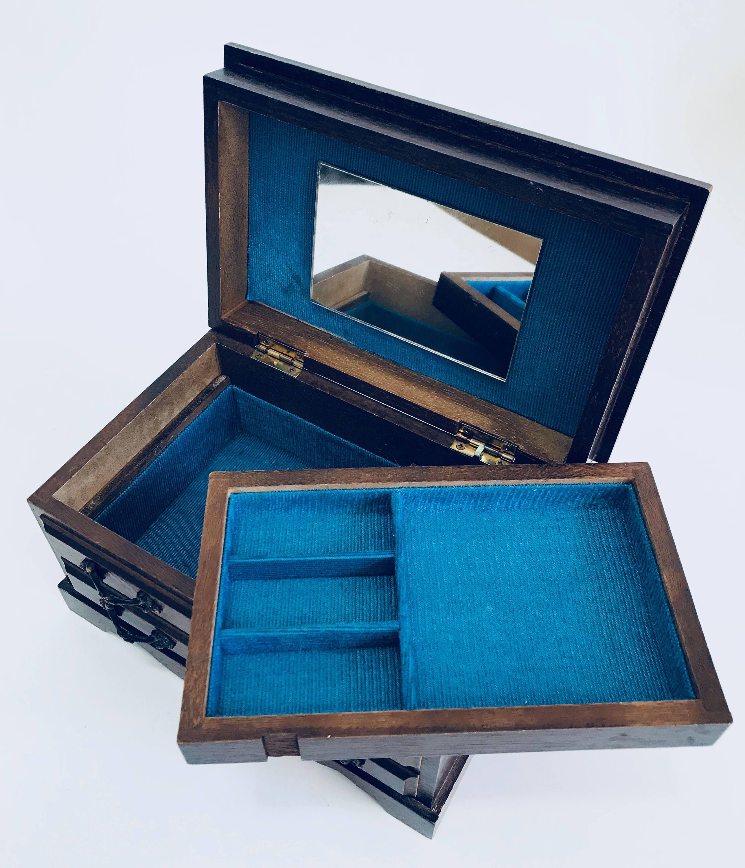 Speak Softly Love Vintage Wood Music Jewelry Box Blue Velvet Liner