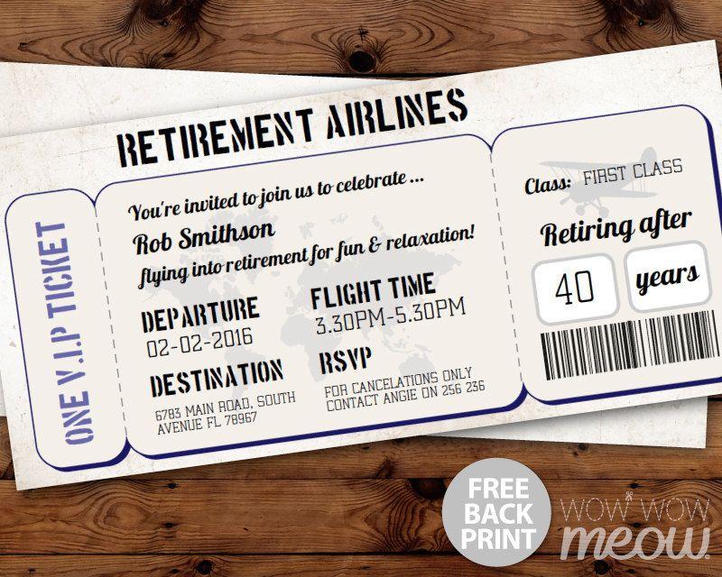 Retirement Ticket Invitation Retired Plane Invite INSTANT - airplane ticket invitations