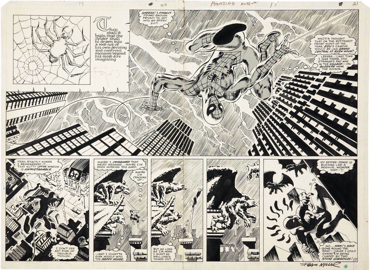pages 20 and 21 of The Amazing Spider-Man Annual #14 by Frank Miller and Tom Palmer