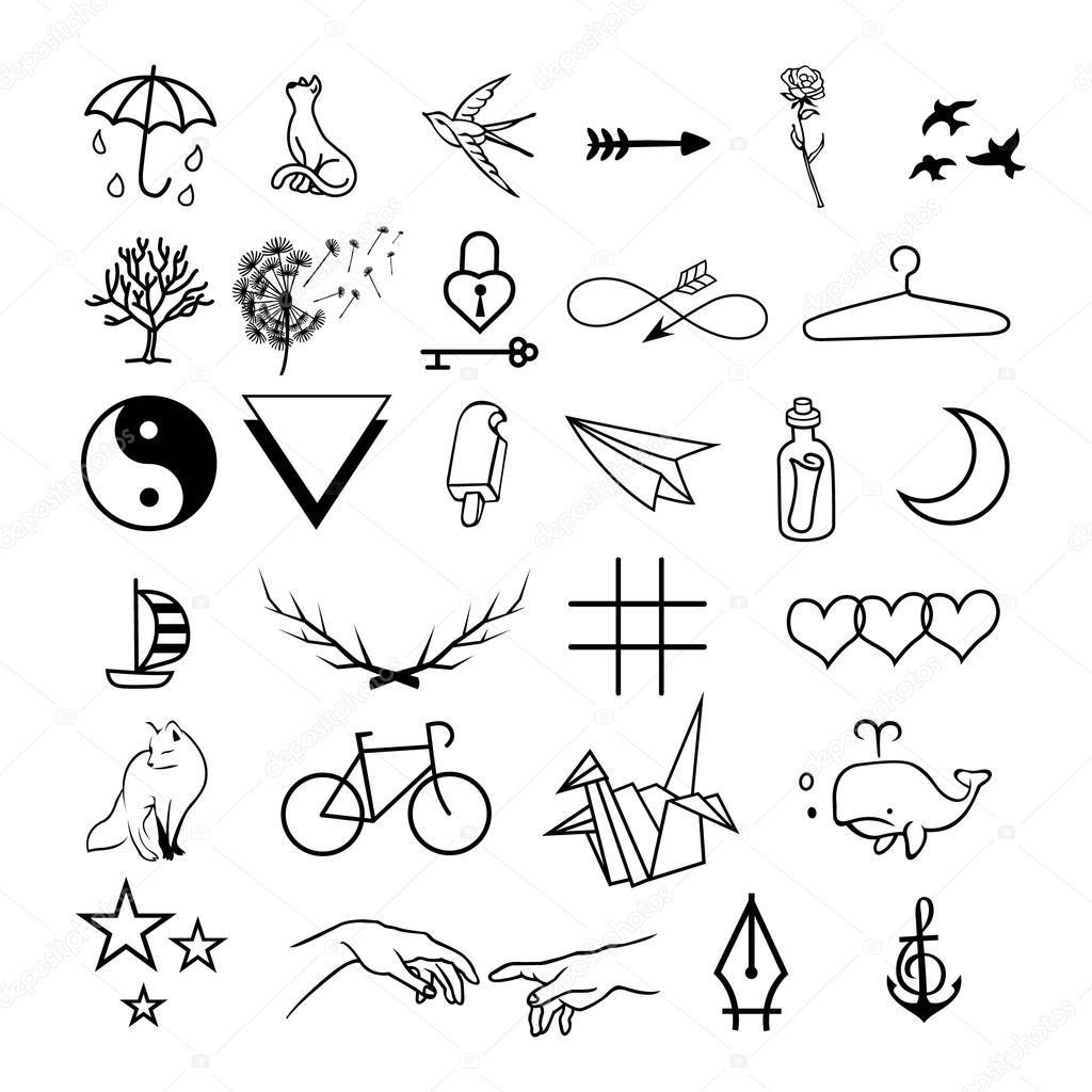Baixar Conjunto De Vetor De Tatuagens Minimalista Ilustracao