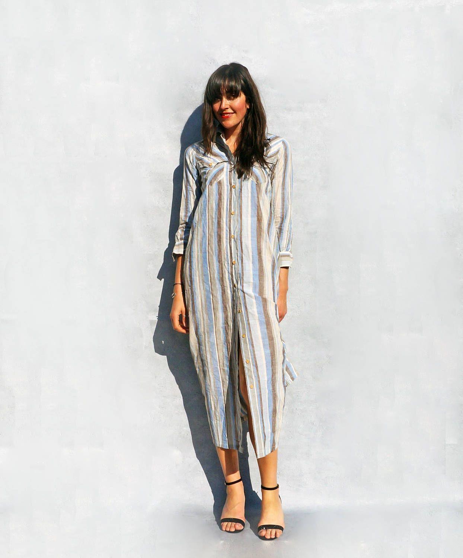 Cheesecloth Dress Cotton Shirt Dress Vintage Striped Maxi Dress