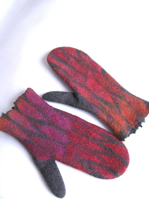 Felted Grey Wool Mittens Ombre Mittens Women Merino Wool Grey Gloves Red Pink Orange Leaves Arm Warmers Christmas Gift Handmade To Order Wool Mittens Orange Handmade Wool Felt